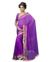 Suvastram Embellished Fashion Georgette Saree(Purple)