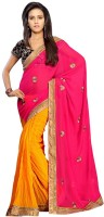 Dancing Girl Embroidered Bollywood Chiffon Saree(Pink, Yellow)