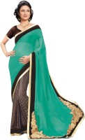 Indianbeauty Self Design Bollywood Pure Chiffon Saree(Green, Black)