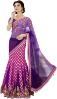 Triveni Printed Lehenga Saree Net, Silk, Jacquard, Satin Saree(Purple)