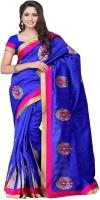 Meghdoot Solid Fashion Poly Silk Saree(Blue)