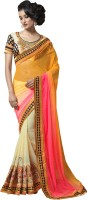Saara Self Design Fashion Net Saree(Yellow, Beige)