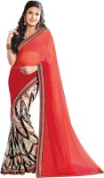 Indianbeauty Printed, Solid Bollywood Pure Georgette Saree(Red, White)