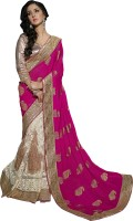 Khoobee Self Design, Embellished, Embroidered Fashion Net Saree(Pink, White)