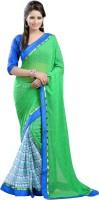 Lookslady Geometric Print Fashion Georgette Saree(Green)