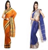 Purabi Self Design Tant Handloom Cotton Saree(Pack of 2, Brown, Blue)
