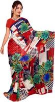 Khoobee Printed Fashion Poly Georgette Saree(Multicolor)