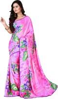 Jiya Self Design, Printed Fashion Poly Georgette Saree(Multicolor, Pink)
