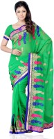 JTInternational Self Design, Solid Fashion Georgette Saree(Green)