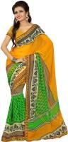 Patankar Fab Printed Bollywood Synthetic Chiffon Saree(Green, Orange)