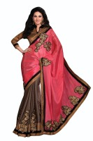 Chirag Sarees Self Design, Solid Fashion Crepe Saree(Pink)