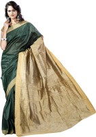 Vastrakala Solid Banarasi Cotton, Silk Saree(Green)