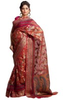 Kataan Bazaar Self Design Banarasi Organza Saree(Red)