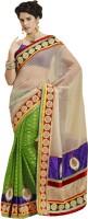 Bahubali Sarees Self Design Fashion Jacquard Saree(Beige, Green)