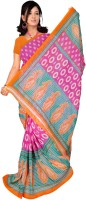 Jiya Self Design, Printed Daily Wear Poly Georgette Saree(Multicolor, Pink)