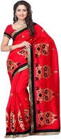 Meghdoot Solid Fashion Poly Silk Saree(Red)
