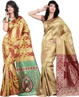 Its Banii Woven Banarasi Handloom Silk Saree(Pack of 2, Yellow, Yellow)