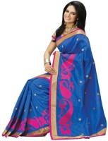 Meghdoot Self Design Fashion Poly Silk Saree(Blue)