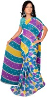 Jiya Self Design, Printed Daily Wear Poly Georgette Saree(Multicolor, Light Blue, Pink, Yellow)