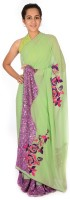 Reme Self Design Fashion Georgette Saree(Pack of 2, Light Green, Pink)