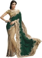 Triveni Self Design Fashion Net, Velvet Saree(Green)