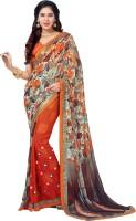 Vastrani Embroidered Fashion Georgette Saree(Orange)
