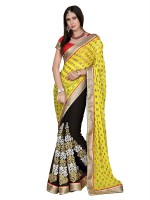 Khoobee Self Design, Embroidered, Embellished Fashion Poly Georgette Saree(Black, Yellow)