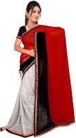Khoobee Self Design, Printed Fashion Poly Georgette Saree(Red, White, Black)