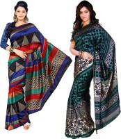 Sunaina Printed Daily Wear Art Silk Saree(Pack of 2, Multicolor)
