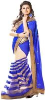 Aagaman Fashion Self Design Bollywood Georgette Saree(Blue)