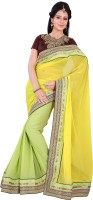 Florence Embroidered Fashion Chiffon Saree(Yellow)