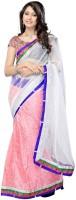 Nairiti Fashions Solid Bollywood Net Saree(Pink, White)