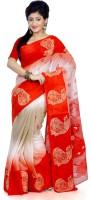B3Fashion Woven Kosa Handloom Tussar Silk Saree(White, Red)