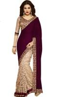 Helixenterprise Embroidered Fashion Handloom Cotton Blend Saree(Purple)