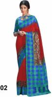 Vandv Shop Printed Bhagalpuri Handloom Poly Silk Saree(Multicolor)