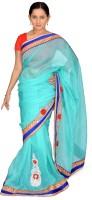 Jagadamba Self Design Fashion Cotton Saree(Light Blue, Red)