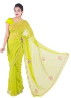 Fab Rajasthan Embellished Fashion Handloom Pure Georgette Saree(Green)