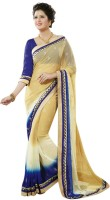 Dancing Girl Embroidered Bollywood Georgette Saree(Beige)