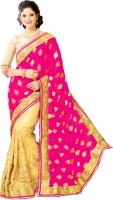 M.S.Retail Embroidered Fashion Brasso, Chiffon, Net Saree(Pink)
