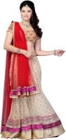 JTInternational Self Design Lehenga Saree Net Saree(Beige, Red)