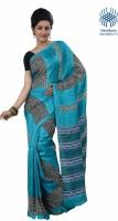 Tantuja Printed Fashion Handloom Silk Saree(Light Blue, Grey)