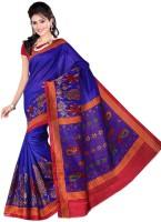 Jiya Self Design, Printed Fashion Poly Silk Saree(Multicolor, Red, Blue)