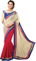Vibes Embroidered Fashion Georgette Saree(Red)