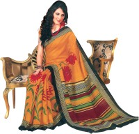 Bhavi Floral Print Fashion Art Silk Saree(Orange)