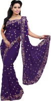 Saree Swarg Self Design Bollywood Georgette Saree(Purple)