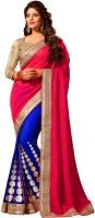 M.S.Retail Self Design Fashion Handloom Raw Silk Saree(Red, Blue)
