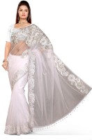 De Marca Solid Fashion Net Saree(White)