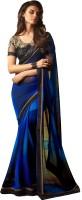 M.S.Retail Solid Fashion Georgette Saree(Blue)