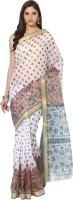 Fostelo Printed Daily Wear Cotton Saree(White)