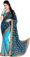 Khoobee Self Design, Embroidered, Embellished Fashion Poly Georgette Saree(Light Blue)
